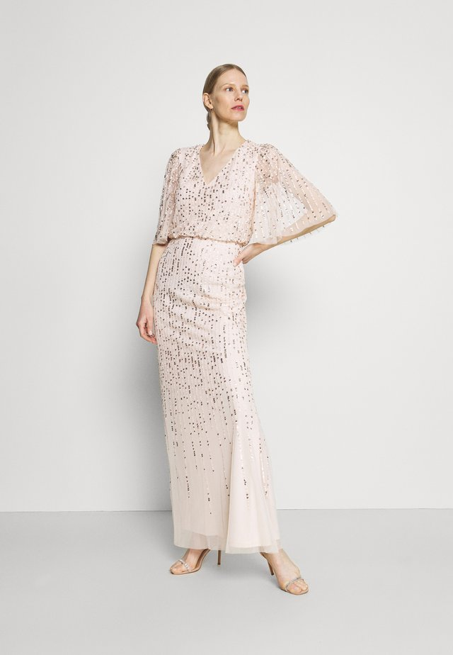 BEADED COVERED BLOUSON GOWN - Iltapuku - flaxen