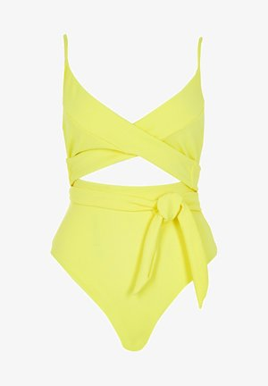 YELLOW TIE FRONT CUT OUT - Swimsuit - yellow