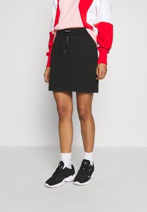 BRANDED DRAWCORD SKIRT - Mini skirt - black
