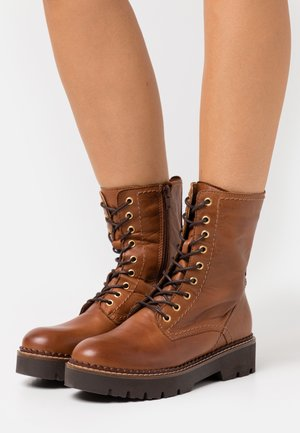 LEATHER - Platform ankle boots - cognac