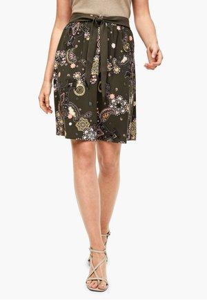 KURZ - A-line skirt - khaki ornamental print
