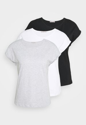 3 PACK - T-shirt basic - black/white/mottled light grey