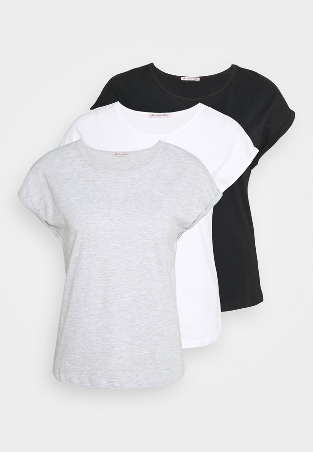 3 PACK - T-shirt basic - black/white/mottled light grey