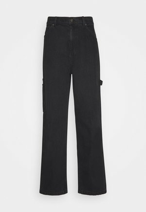 PANTS - Straight leg -farkut - washed black