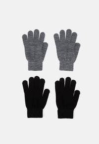 Name it - NKNMAGIC GLOVES2 2 PACK UNISEX - Gloves - black/dark grey melange - 0