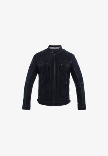CASTEL - Leather jacket - navy blue