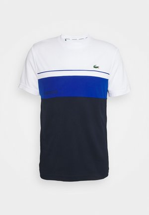 TENNIS BLOCK - T-shirt z nadrukiem - white/navy blue
