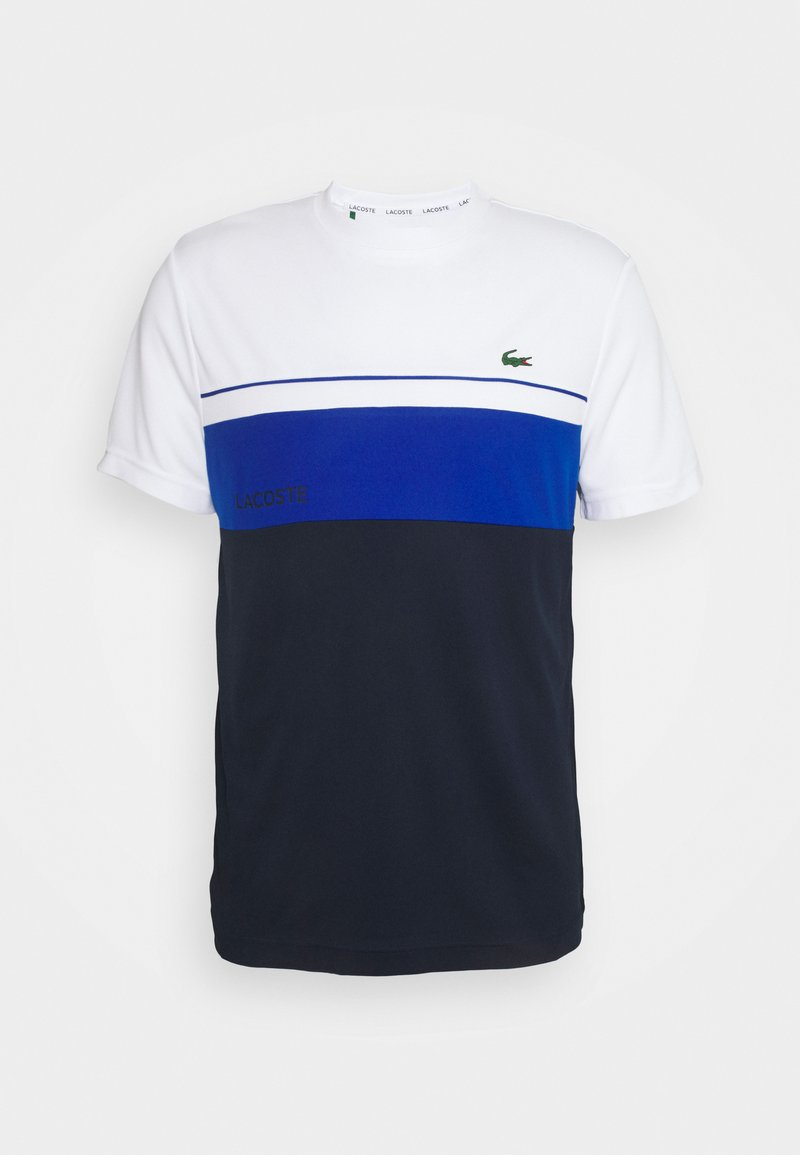Lacoste Sport - TENNIS BLOCK - T-shirt print - white/navy blue