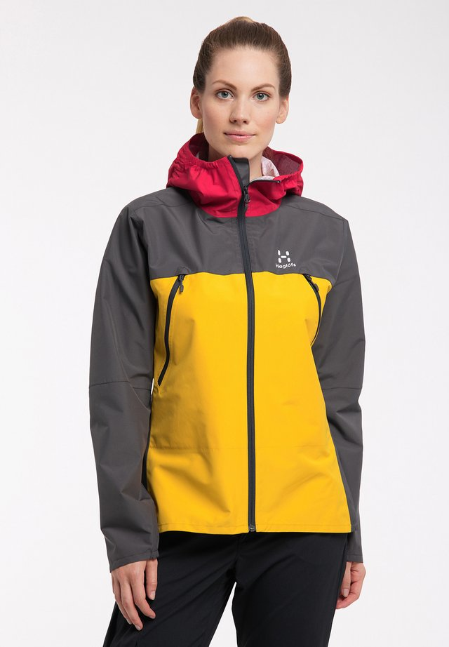 SPIRA - Hardshell jacket - magnetite/pumpkin yellow