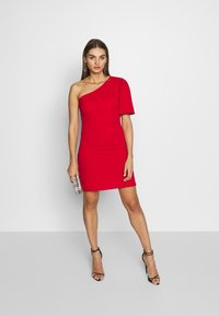 WAL G. - ONE SHOULDER BELL SLEEVE DRESS - Cocktail dress / Party dress - red - 1