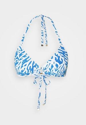 CORAL MOSAIC TRIANGLE - Bikini top - grecian blue