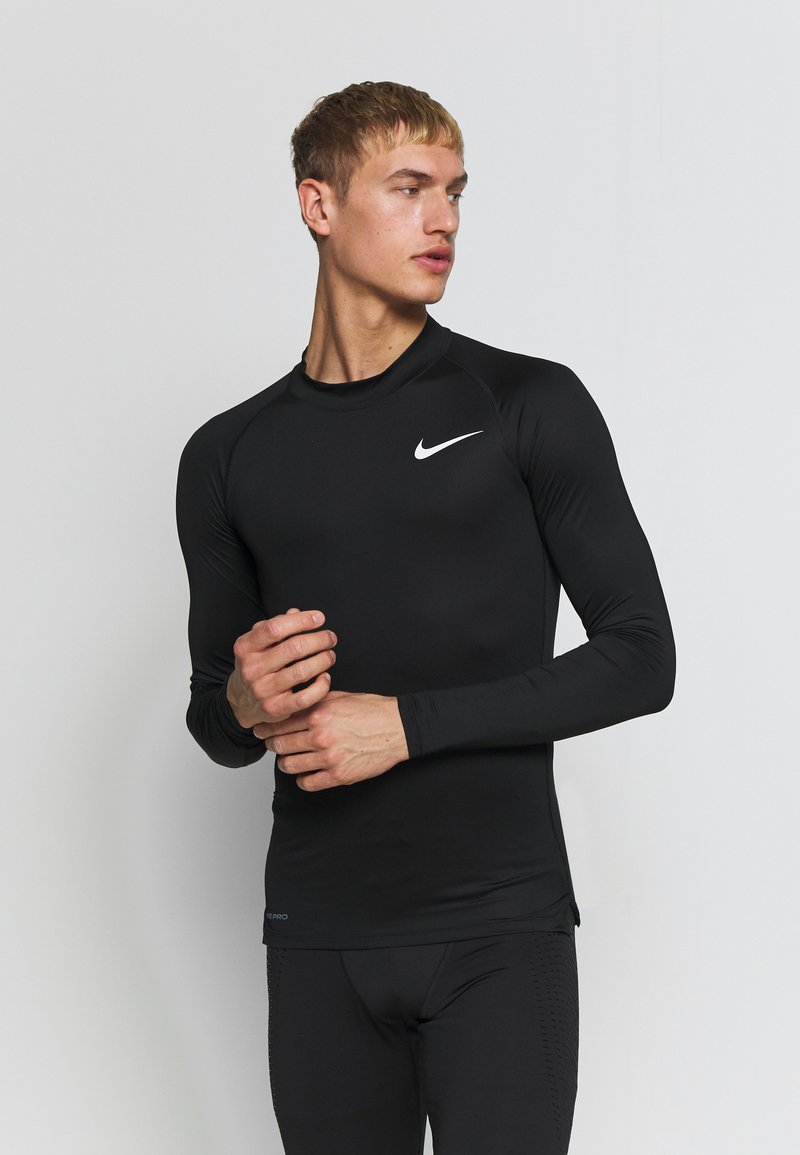 Nike Performance - PRO TIGHT MOCK - Sports shirt - black/white