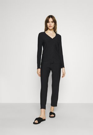 SOFT STRIPES LONGSLEEVE LONG PANTS - Pyžamo - black