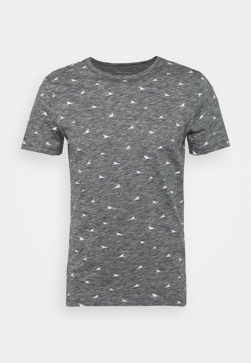 Pier One T-Shirt print - dark blue melange/dunkelblau meliert uvMN0N