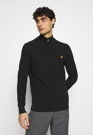 MOSS STITCH ZIP JUMPER - Stickad tröja - black