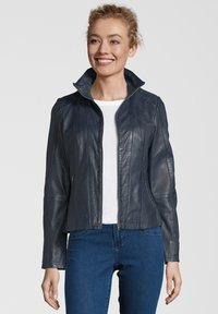 7eleven - LEA - Leather jacket - navy - 0