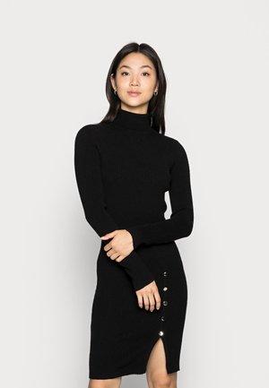 VMABBA BUTTON ROLL NECK DRESS - Jumper dress - black