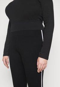 New Look Curves - WHITE SIDE STRIPE - Leggings - Trousers - black - 5