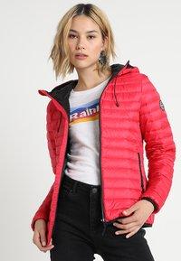 Superdry - CORE DOWN HOODED JACKET - Down jacket - raspberry - 0