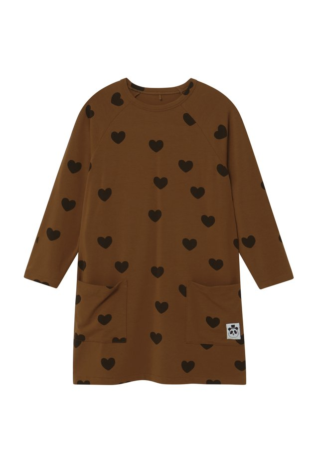HEARTS - Jersey dress - brown