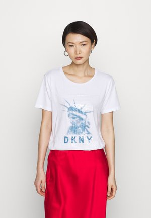 LADY LIBERTY SEQUIN LOGO  - T-shirt print - white/electric blue
