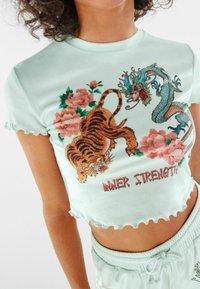 Bershka - Print T-shirt - green - 3