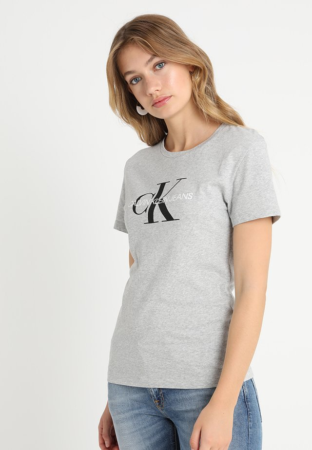 CORE MONOGRAM LOGO - T-shirt z nadrukiem - light grey heather