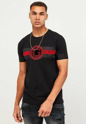 Print T-shirt - jet black/red