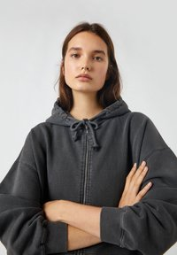 PULL&BEAR - Zip-up hoodie - mottled dark grey - 3