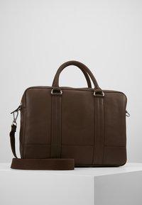 Pier One - LEATHER - Laptop bag - dark brown - 0