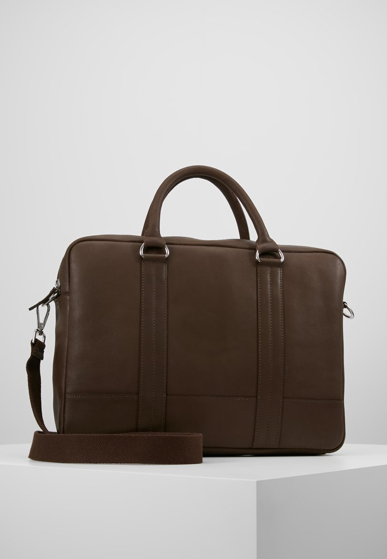 Pier One - LEATHER - Laptop bag - dark brown