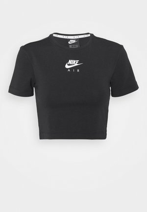 AIR CROP - T-shirt z nadrukiem - black/white