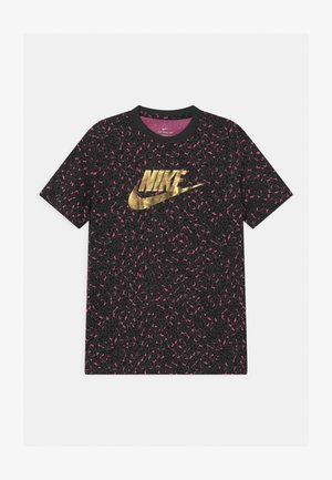T-shirt print - dark smoke grey/pinksicle/black