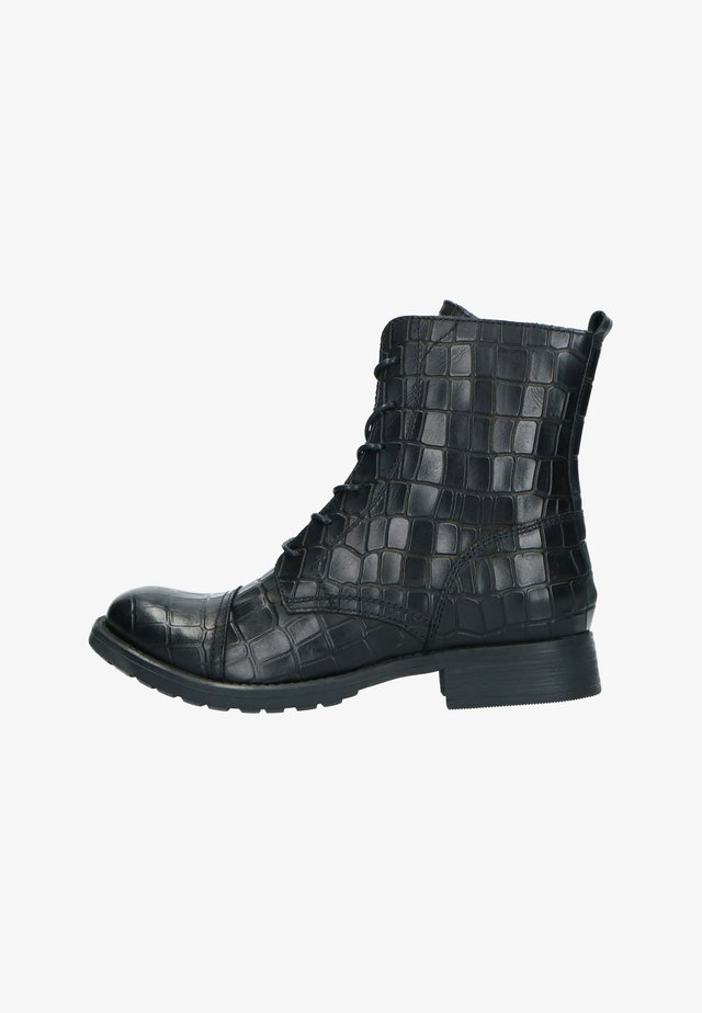 MIT KROKOMUSTER - Lace-up ankle boots - schwarz