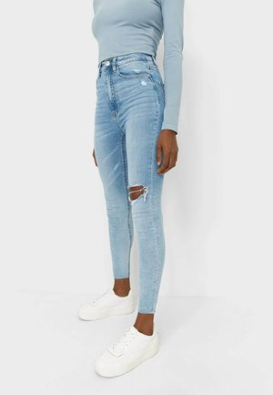 Jeansy Skinny Fit - mottled light blue