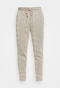 CHECK JOGGER - Tracksuit bottoms - stone
