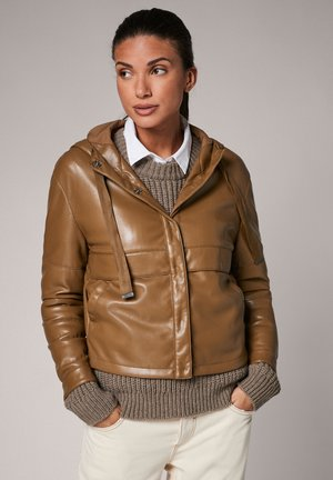 Faux leather jacket - olive brown