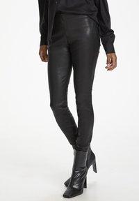 Karen by Simonsen - Leather trousers - meteorite black - 0