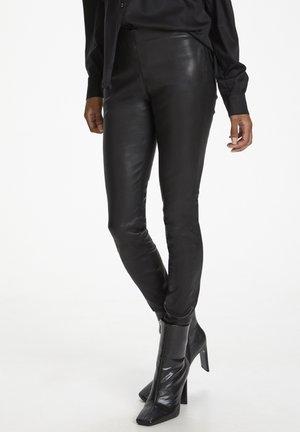 Leather trousers - meteorite black