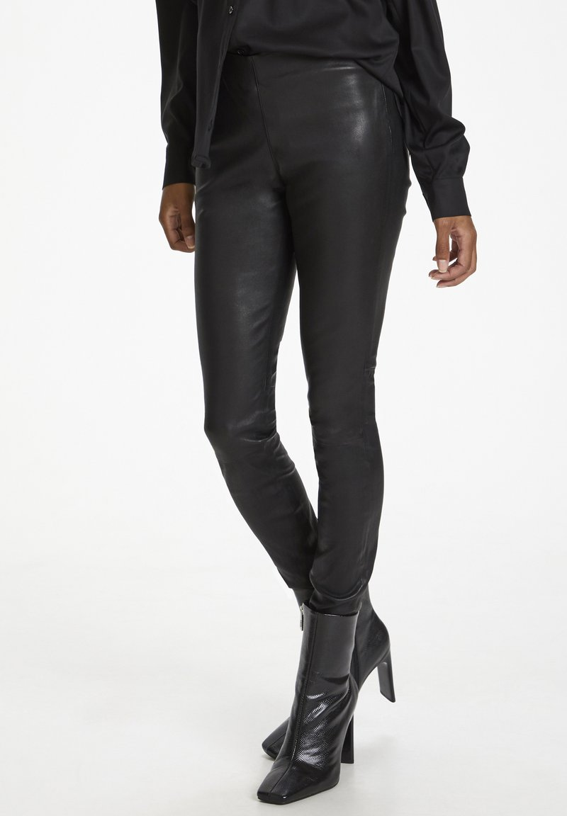 Karen by Simonsen - Leather trousers - meteorite black