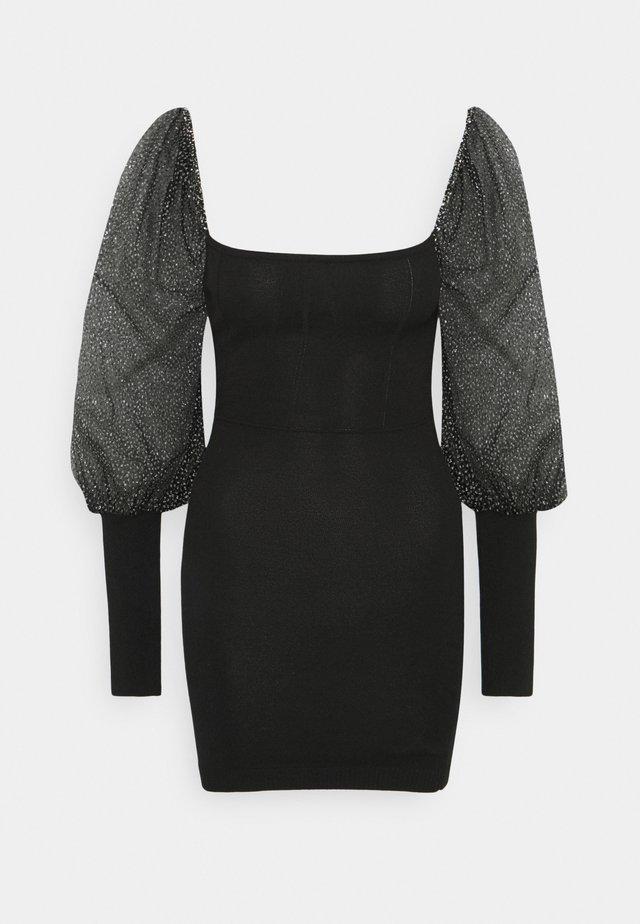 GLITTER PUFF SLEEVE MINI DRESS - Cocktail dress / Party dress - black