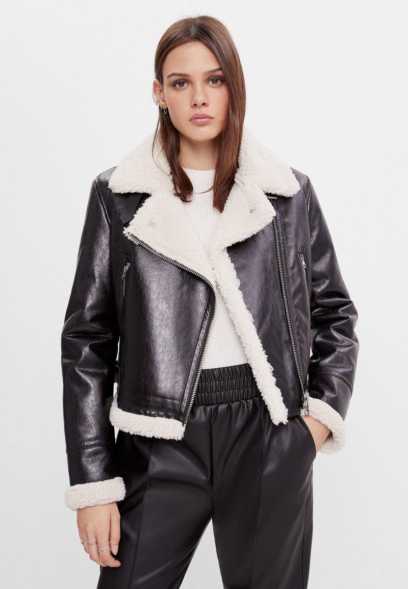 Bershka - Faux leather jacket - black