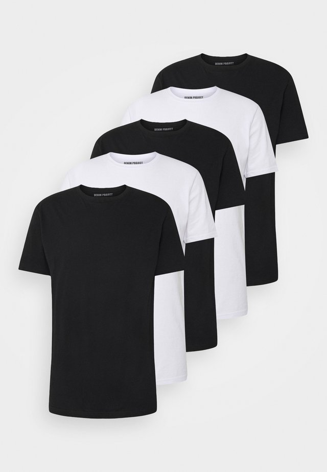5 PACK  - T-shirt basic - black/white