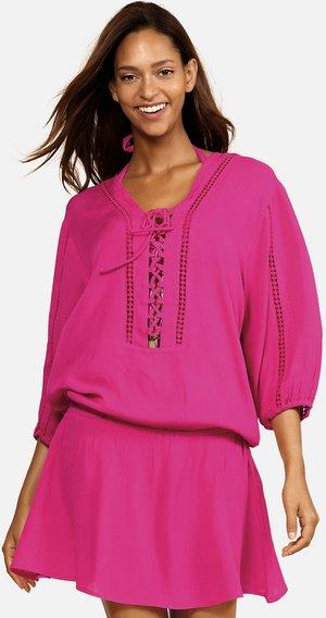 Tunika - różowa, haft boho