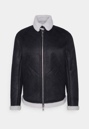 BLOUSON JACKET - Imitatieleren jas - black/white