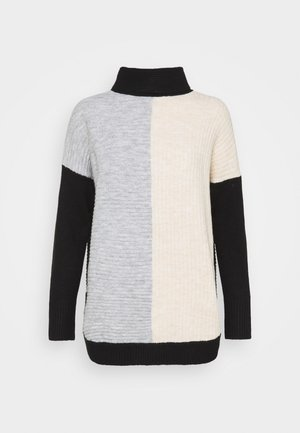COMPACT COLOUR BLOCK JUMPER - Strikpullover /Striktrøjer - grey