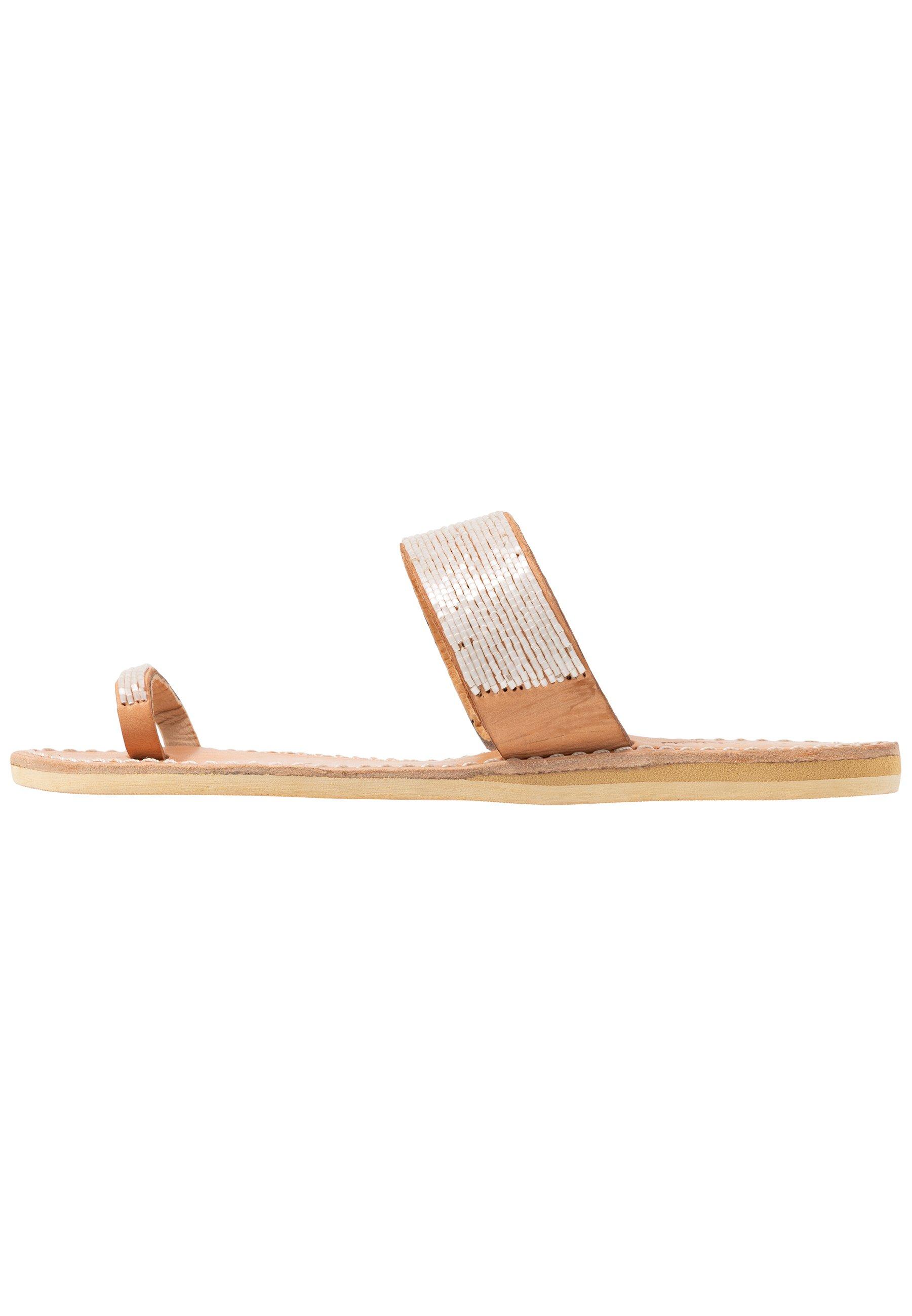 laidbacklondon TRENT FLAT - Flip Flops - light brown/snow white