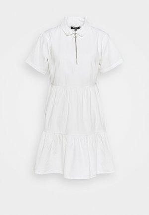 ZIP FRONT TIERED COLLAR DRESS - Skjortekjole - white