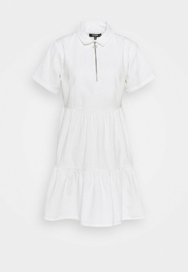 ZIP FRONT TIERED COLLAR DRESS - Shirt dress - white