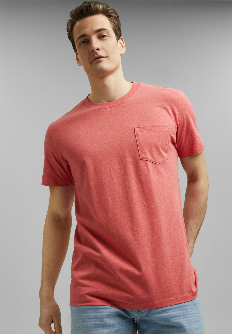 Esprit - SLIM FIT - Basic T-shirt - coral red